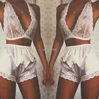 Women Sexy Lingerie Satin Pj Short Set V Halter Floral Lace Bra and K0E1