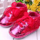 0-12M Baby Infant Kids Girl Soft Sole Crib Shoes Sneakers Lace Bow Prewalker USA