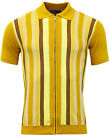 NEW MADCAP ENGLAND MOD RETRO 70s MENS ZIP STRIPED KNIT POLO CAPITOL YELLOW MC333