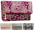NEW LADIES ENVELOPE SEQUIN CHAIN PARTY VELVET OCCASION PROM WEDDING CLUTCH BAGS
