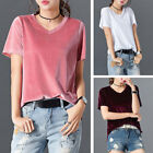 Women Summer Velvet V-Neck Short-Sleeved Tank Tops T-shirt Blouse Shirt Crop Top