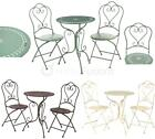 Finchwood 3pc Garden Patio Furniture Set 2 Folding Chairs & Table Wrought Iron