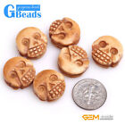 17mm Coin Carved Bone Cabochon Beads for Jewelry Making DIY Free Shipping 12 Pcs