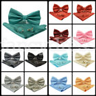 New 3 Pcs Set Woven Silk Bow Tie + Cufflinks and Pocket Square Handkerchief Gift