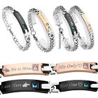Couple Gift Zircon Curb Chain Bracelet Bangle Her King His Queen Beast Beauty