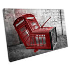 Banksy style Red London phone box Street Art Ready to Hang Canvas X1589