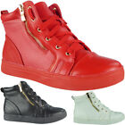 Womens Ankle Boots High Hi Top Zip New Sneakers Lace Up Flat Trainers Shoes Size