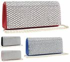 Ladies Envelope Occasion Shimmer Diamante Party Evening Dressy Hand Clutch Bags