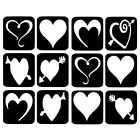 12 x Glitter Tattoo Stencils - Hearts Refill Face Painting Airbrush Festival New