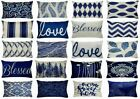"""Navy Blue Linen Vintage Throw PILLOW COVER Grey Sofa Couch Cushion Case 12x20"""""""