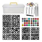 Jumbo Glitter Tattoo Kit - 288 Stencils glue brushes 24 Glitter Pots Storage Box