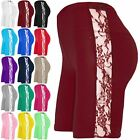 New Womens Ladies Active Side Lace Insert Gymming Cycle Hot Pants Tights Shorts