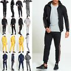 Mens Side Striped Hooded Hoodie Sweatshirt Top Jog Jogging Gym Zip Up Tracksuit