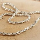 UNISEX ROPE CHAIN 3.3MM WIDE DIAMOND CUT SOLID 925 STERLING SILVER CHAIN