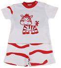 Baby boy shorts t shirt set outfit WHITE zebra red summer