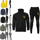Mens Hooded Rip Laser Cut Embroidered Army Patches Sweatshirt Joggers Tracksuit
