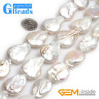 """Big Flat Freeform Freshwater Cultured Pearls Loose Beads for Jewelry Making 15"""""""
