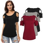 Womens Hollow Cross Cold Shoulder Short Sleeve T-Shirt Casual Blouse Loose Tops