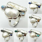 925 Silver BIWA PEARL, RAINBOW MOONSTONE & Other Gem Ring White Day Gifts Sale