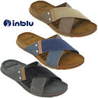Mens Slides Sandals Leather Inblu Cross Strap Padded Beach Flats Lightweight