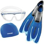 Cressi Agua/Skylight/Super Stretch Cap Swim Set, Blue