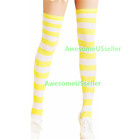 Women Striped Thigh High Socks Sheer Over The Knee Leg Warmers Stockings Cotton