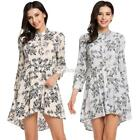 Womens Casual 3/4 Sleeve Stand Collar Print Long Shirt Blouse DZ88