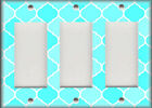 Metal Light Switch Plate Cover Ombre Decor Moroccan Design Aqua Blue Shades