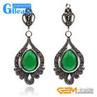 Drip Stone Snap Closure Marcasite Silver Dangle Earrings Jewelry for Women + Box