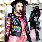 Women Fashion Multicolor Punk Leather Motorcycle Y7 Jacket Graffiti Street 2018
