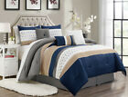 11 Piece Adrina Navy Taupe White Bed in a Bag Set