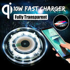 Fully Transparent 10W Qi Wireless Fast Charger Phone Charging Pad Mat +LED Light