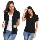 Women's Casual Short Sleeve Hoodie Zip up Jacket Chest Pockets Tops Black Friday