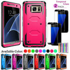 For Samsung Galaxy S6 S7 Edge S8 S9 Plus Hybrid Case + Full Cover Tempered Glass