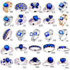Women Men Fashion Blue Sapphire & Tanzanite & White Topaz 925 Silver Ring Gifts