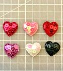 "60 pcs x 7/8"" Padded Shiny Sequined Felt Heart Valentine Crafts Appliques ST221M"
