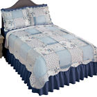 Olivia Floral Ruffle Trim Patchwork Quilt Coverlet with Scalloped Edge image