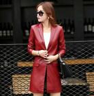Womens Faux Leather Blazer Lapel Collar Outwear Coat Mid Length Trench Jacket sz