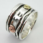 "MULTIPLE SIZE ""3 Tone"" 925 PURE STERLING Silver, Copper, Brass SPINNER Ring Band"