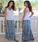 PLUS SIZE AQUA BLUE PINK PAISLEY MAXI HIGH WAIST MERMAID SKIRT XL 1X 2X 3X USA