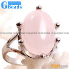 Natural 16x22mm Oval Gemstone Fashion Jewelry Silver Plated Finger Ring Gift