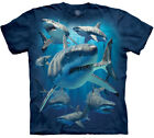 Great White Sharks Collage Blue Ocean T-Shirt Mountain Animal Cotton Sizes S-M