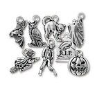 Halloween Charms Pewter Cat Owl Pumpkin Grave Bat Ghost Witch Charm Choice