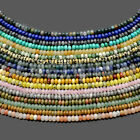 """4x6mm & 5x8mm Smooth Natural Gemstone Rondelle Spacer Loose Beads Strand 15.5"""""""