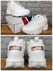 FILA LADIES DISRUPTOR II PATENT WHITE ROSE GOLD CHUNKY TRAINERS VARIOUS SIZES