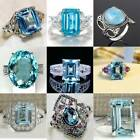 925 Silver Aquamarine Wedding Proposal Ring Engagement Luxurious Jewelry #6-10