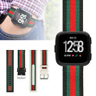 Sport Nylon Stripe Leather Wrist Band Belt Strap Bracelet for Fitbit Versa Watch