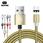 US 1M/2M 360° Round Magnetic Micro USB Type-C For iPhone Charger Charging Cable