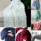 Warm Handmade Large Luxury Chunky Knit Blanket Wool Thick Yarn Knitted Throw image
