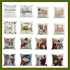Xmas Cotton Pillow Case Linen Cushion Cover Merry Christmas Home Decoration Gn